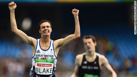 Paul Blake celebrates after winning gold in the T36 400-meter final.