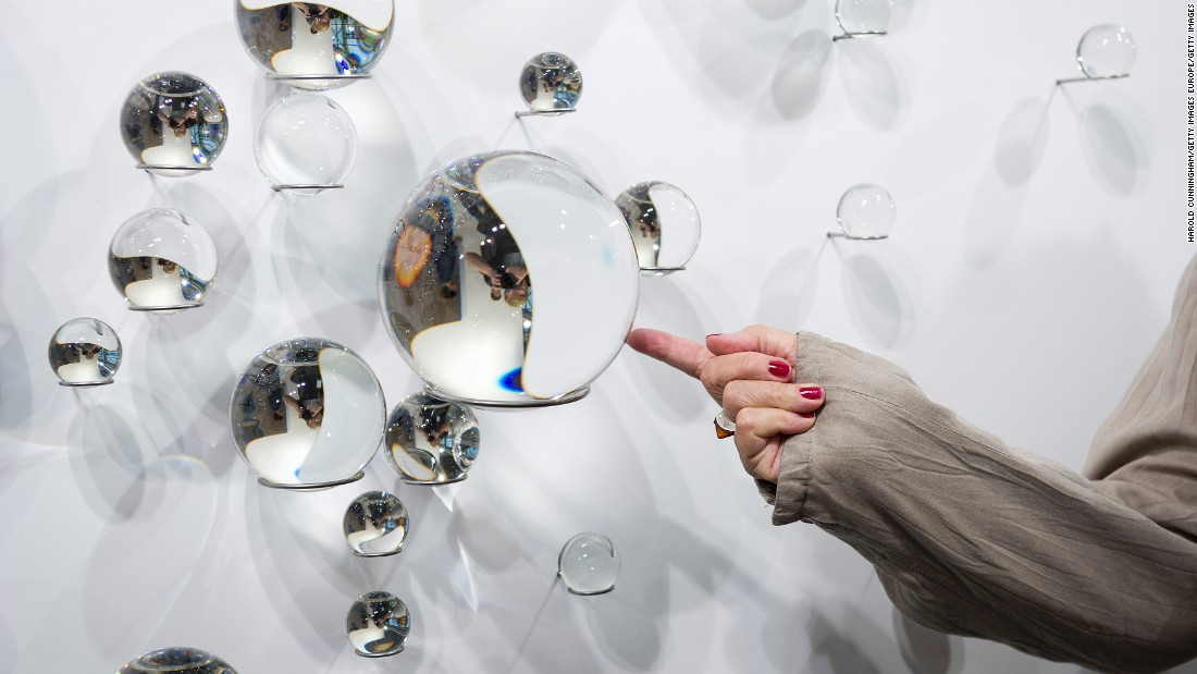 "Eliasson's ""Your Solar Nebula"" installation on display at Art Basel in Switzerland."