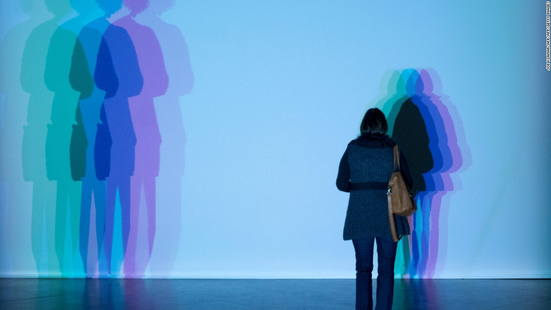 "A visitor participates in the ""Your uncertain shadow"" installation at the Baroque,Baroque exhibition created by Danish-Icelandic-rooted artist Olafur Eliasson at Winter Palace of Prince Eugene in Vienna, Austria."