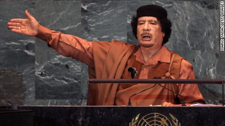 Libyan leader Col. Moammar Gadhafi delivers an address to the United Nations General Assembly at U.N. headquarters September 23, 2009 in New York City.