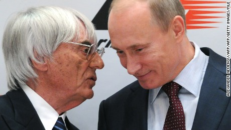 Russian Prime Minister Vladimir Putin (R) and Formula One racing director Bernie Ecclestone talk during a ceremony of signing an agreement to bring Formula One racing to Sochi for a Grand Prix Russia to be held in 2014, the same year the Black Sea resort hosts the Winter Olympics in Sochi on October 14, 2010. Putin, whose backing was crucial in Sochi winning the right to host the Games, is due in the city on Thursday to sign an agreement for work to begin on the construction of a new 200 million dollar circuit.    AFP PHOTO/ ALEXANDER NEMENOV (Photo credit should read ALEXANDER NEMENOV/AFP/Getty Images)