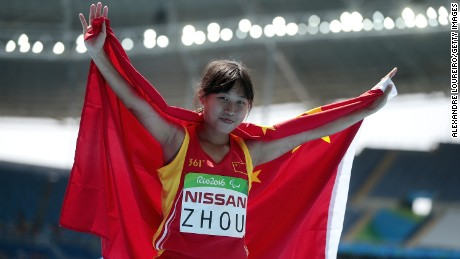 Seventeen-year-old Xia Zhou of China set a world record winning gold in the T35 200m.