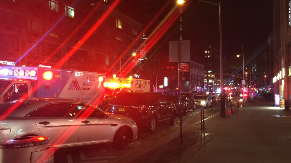 A line of emergency vehicles near the scene of the explosion.