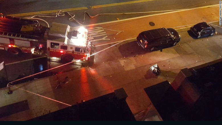 The scene of the explosion in New York's Chelsea neighborhood on Saturday, September 17. The New York police commissioner said 29 people were injured.