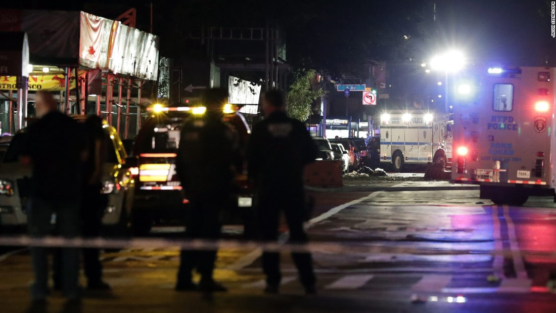 New York police at the scene of the explosion.