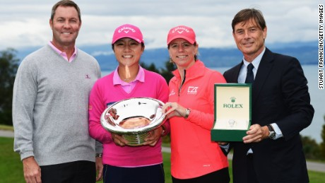 Lydia Ko (second left) receives her award from Annika Sorenstam, flanked by Michael Whan, commissioner of the LPGA and Laurent Delaney of Rolex.