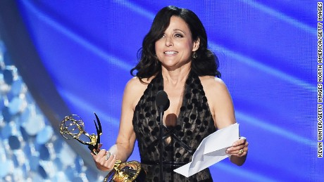 LOS ANGELES, CA - SEPTEMBER 18:  Actress Julia Louis-Dreyfus accepts Outstanding Lead Actress in a Comedy Series for 'Veep' onstage during the 68th Annual Primetime Emmy Awards at Microsoft Theater on September 18, 2016 in Los Angeles, California.  (Photo by Kevin Winter/Getty Images)