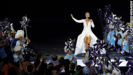 Brazilian singer Ivete Sangalo performed a medley of her hits.