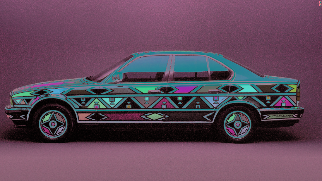 """25 years ago Mahlangu created a BMW """"Art Car""""  showcasing her unique and striking artistic style."""
