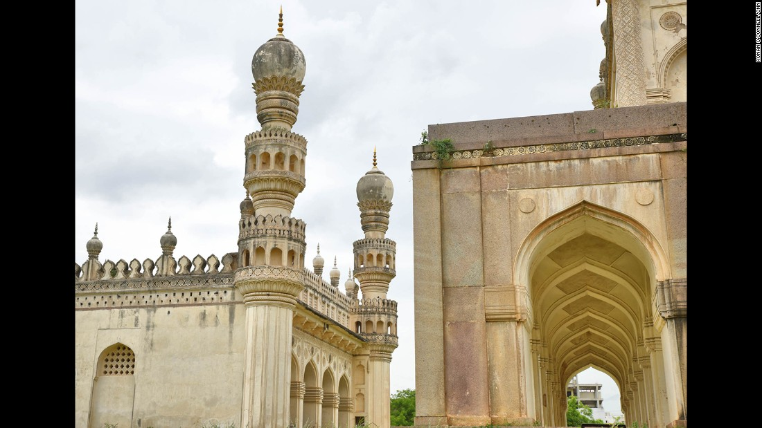 The tomb of Hayath Bakshi, right, sits next to the majestic Great Mosque.