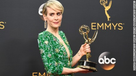 Actress Sarah Paulson, wins Best Actress in a Mini-Series or Movie for The People v. O. J. Simpson.