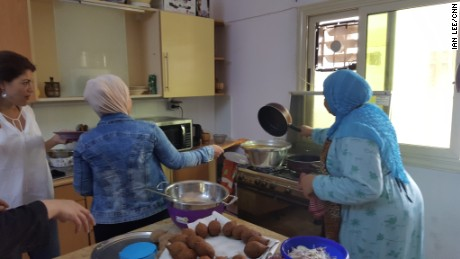 The refugees come from different cities, so one challenge was agreeing on a single recipe