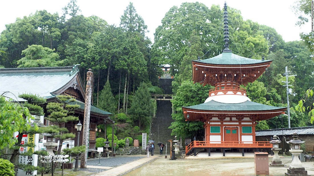 """The temple marks the start of the Koyasan Choishi Michi trail, which lies atop of the pictured set of stairs. Designated a site of national importance in 1977, it's made up of 180 """"choishi,"""" or stone markers."""