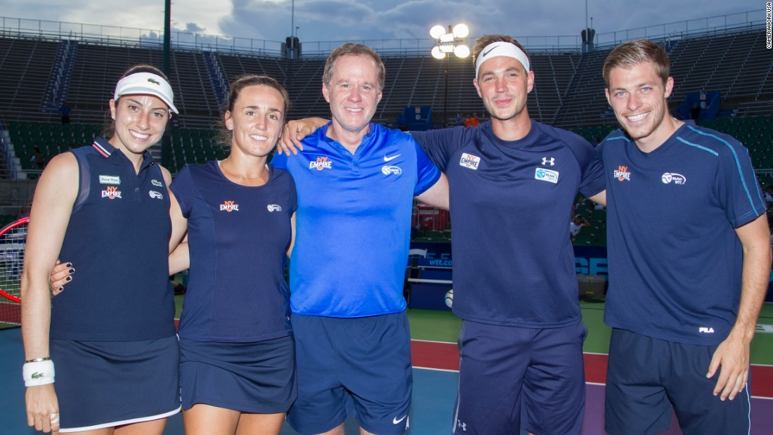 The New York Empire team is coached by Patrick McEnroe (center) and includes, from left to right: Christina McHale, Maria Irigoyen, Marcus Willis and Neal Skupski.