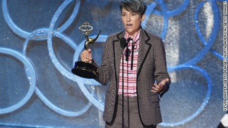 LOS ANGELES, CA - SEPTEMBER 18:  Director Jill Soloway accepts Outstanding Directing for a Comedy Series for the 'Transparent' episode 'Man on the Land' onstage during the 68th Annual Primetime Emmy Awards at Microsoft Theater on September 18, 2016 in Los Angeles, California.  (Photo by Kevin Winter/Getty Images)