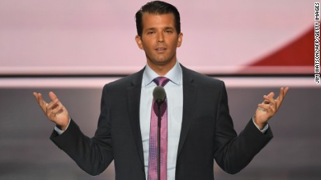 Donald Trump Jr., son of Donald Trump, greets the audience after speaking on the second day of the Republican National Convention at the Quicken Loans Arena in Cleveland on July 19, 2016.