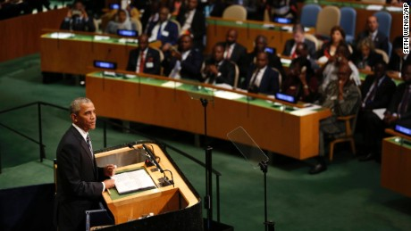 United States President Barack Obama speaks during the 71st session of the United Nations General Assembly at U.N. headquarters, Tuesday, September 20.