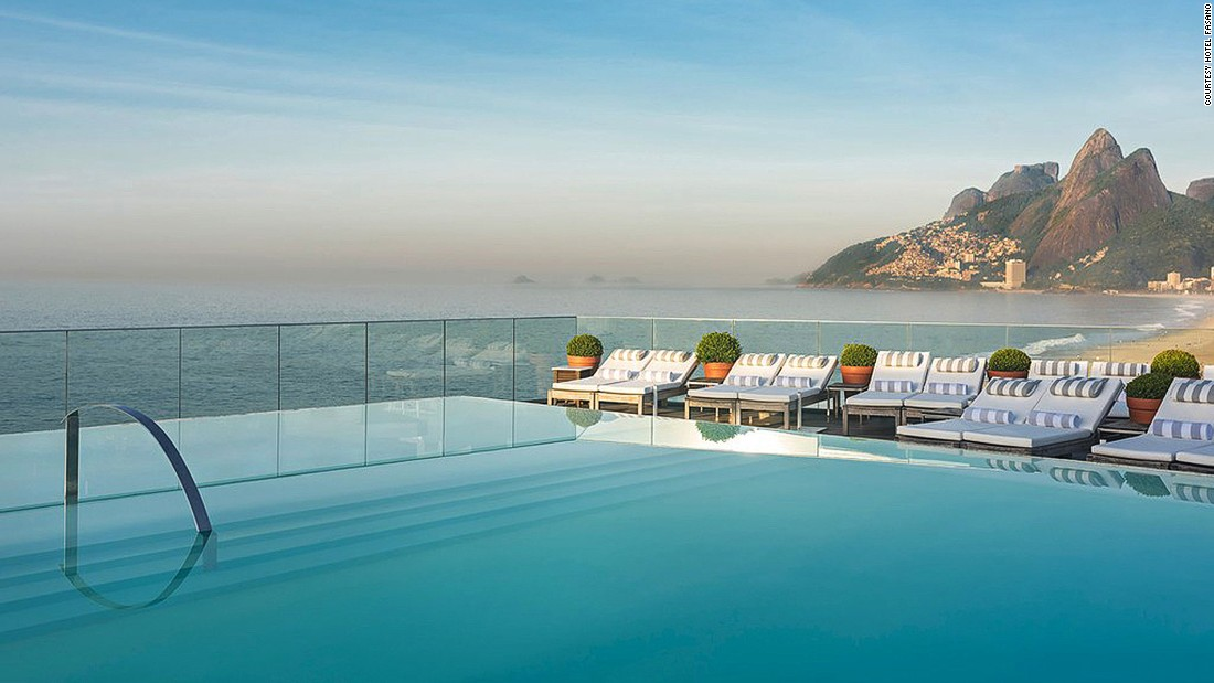 Hotel Fasano's luxurious rooftop infinity pool serves some of the best views of Rio's legendary Ipanema Beach -- as well as the distinctive Morro Dois Irmaos and Corcovado mountains.