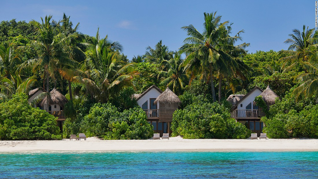 Soneva Fushi Resort is the original Maldivian island getaway and remains one of the best today. Villas are hidden among dense foliage and are only steps away from a pristine beach and UNESCO-protected coral reef.