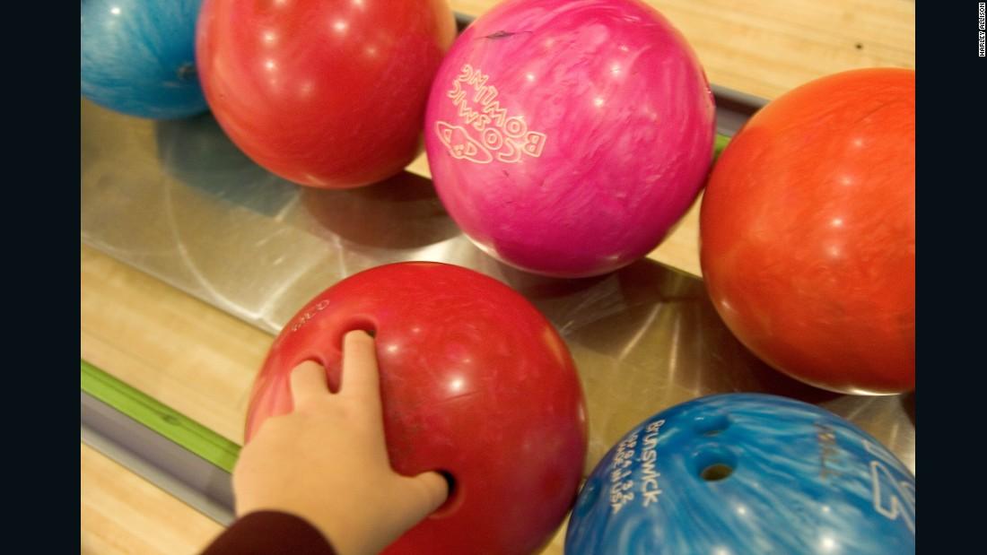 A photo taken at a bowling alley.