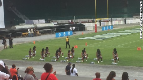 Cheerleaders at Howard University take a knee Saturday to join a growing national anthem protest.