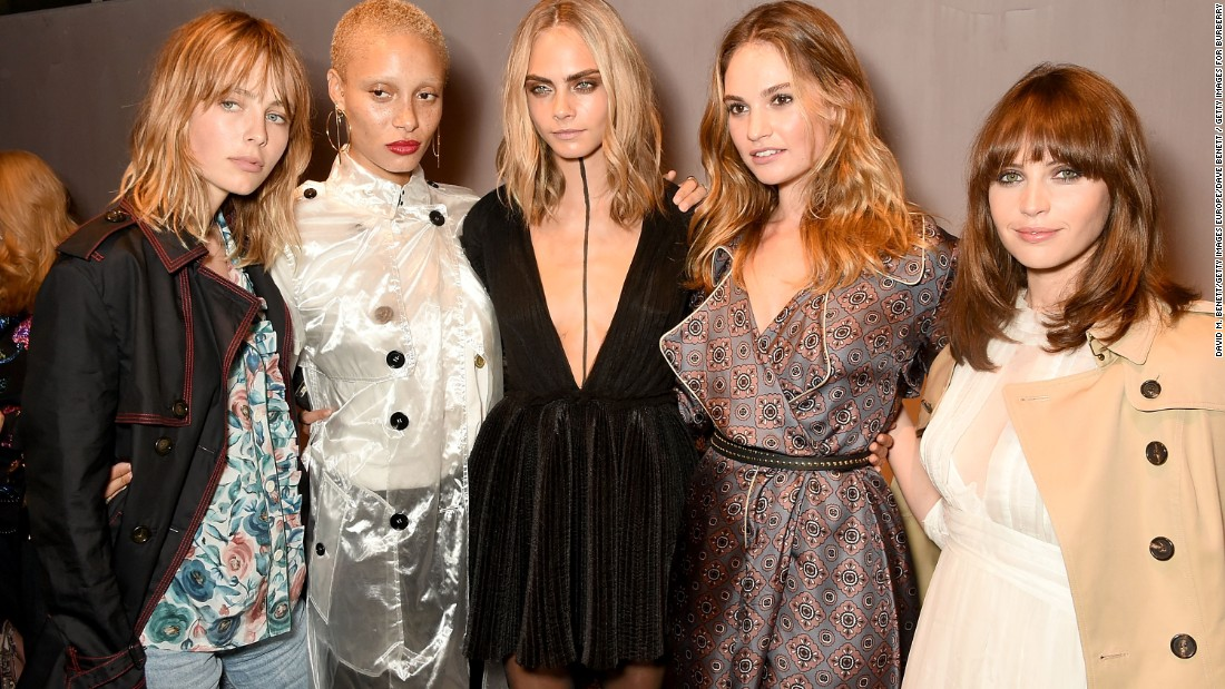 L-R: Edie Campbell, Adwoa Aboah, Cara Delevingne, Lily James and Felicity Jones