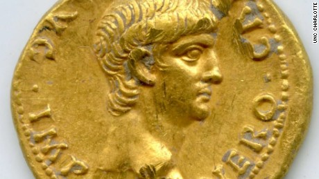 The gold Roman coin with the face of Emperor Nero.