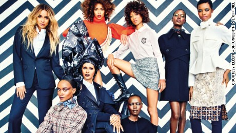 """L'Officiel's """"Gang of Africa"""" issue featuring Iman, Ajak Deng, Ciara, and Solange."""