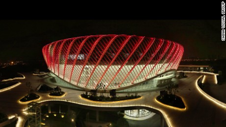 The new stadium at the Wuhan Open by night. Night sessions will start an hour later this year to make sure fans who work during the day can see the tennis in the evening.