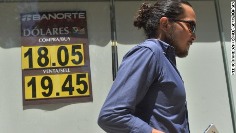 The currency board of a bank shows the dollar exchange rate, in Mexico City, on September 19, 2016.  / AFP / Pedro Pardo        (Photo credit should read PEDRO PARDO/AFP/Getty Images)