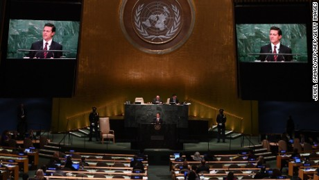 Mexicos President Pena Nieto address the 71st session of the United Nations General Assembly at the UN headquarters in New York on September 20, 2016.  / AFP / Jewel SAMAD        (Photo credit should read JEWEL SAMAD/AFP/Getty Images)