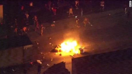 charlotte police shooting protesters block highway start fire_00000617.jpg