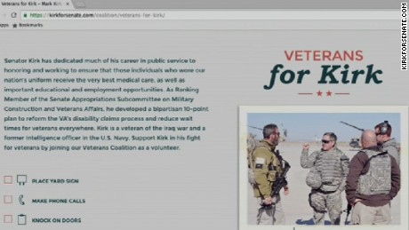 """A once public, now private webpage on Mark Kirk's official campaign website touted his record on veterans' issues, Kirk was listed as a """"veteran of the Iraq war."""""""