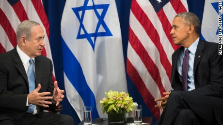 Prime Minister of Israel Benjamin Netanyahu speaks to U.S. President Barack Obama during a bilateral meeting at the Lotte New York Palace Hotel, September 21, 2016 in New York City.