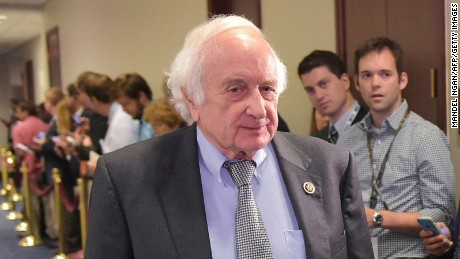 Rep. Sander Levin, D-MI, arrives for a meeting of House Democrats with US President Barack Obama at the Capitol Hill on June 12, 2015 in Washington, DC.