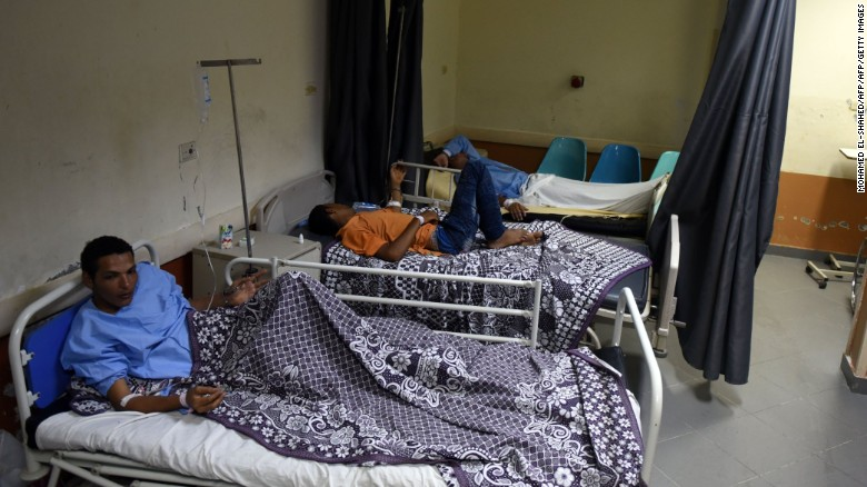 Survivors from the capsized boat in a hospital in Rashid.