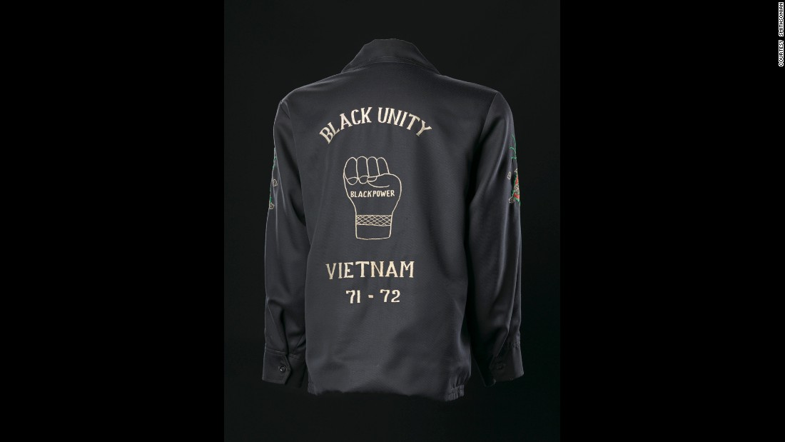 American soldiers fighting in Vietnam would often buy Vietnam tour jackets, and black soldiers' jackets often had an embroidered message about black unity and black power.