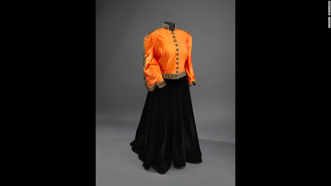 Singer Marian Anderson made history when she sang at the Lincoln Memorial, where first lady Eleanor Roosevelt invited her to perform after the Daughters of the Revolution would not let her sing at Constitution Hall. The skirt and decorative trim are original to the 1939 outfit. The rest was added in 1993.