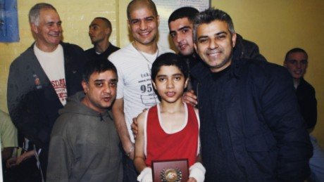 Sadiq Khan (right) with family members at Earlsfield boxing club.