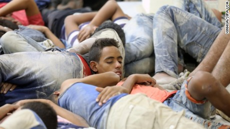 (160922) -- CAIRO, Sept. 22, 2016 (Xinhua) -- Survivors of a capsized migrant boat stay at a police station in the port city of Rosetta, Egypt, Sept. 21, 2016. The death toll of the capsized migrant boat near Egypt's northern coast on Wednesday rose to 42, while six were wounded and 35 others rescued after first aid treatment in hospitals, Egyptian Health Ministry spokesman Khaled Megahed told Xinhua.  (Xinhua/Ahmed Gomaa)(zcc) (Photo by Xinhua/Sipa USA)