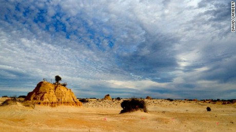 "Willandra Lakes where the oldest Australian ""Mungo Man"" was found (43,500 years old)."