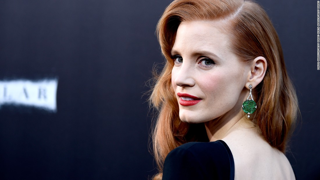 """Jade is growing more popular in the West. Here actress Jessica Chastain attends the 2014 Hollywood premiere of """"Interstellar"""" wearing a pair of finely carved jadeite earrings."""