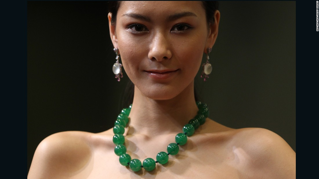 This jadeite bead necklace, shown here during an auction preview in Hong Kong, sold for $13.7 million at a Tiancheng International auction held in Hong Kong on Novermber 28, 2012.