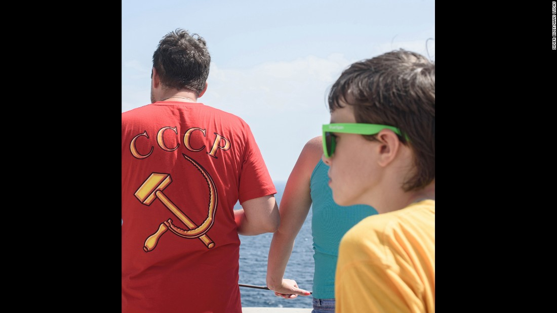 Various sights in Crimea reminded Bizet of Russia's past, from outdated cable car equipment to the clothing people wore.