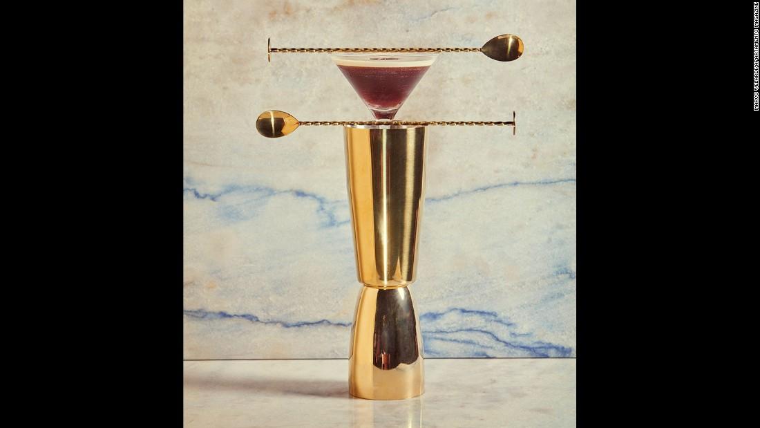 A take on a classic, Marco Velardi's espresso martini requires espresso, a lemon peel, a cinnamon stick, vodka, Frangelico and ice.