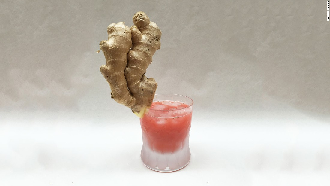 Martino Gamper's cocktail comprises ginger root, strawberries, Champagne and ice.