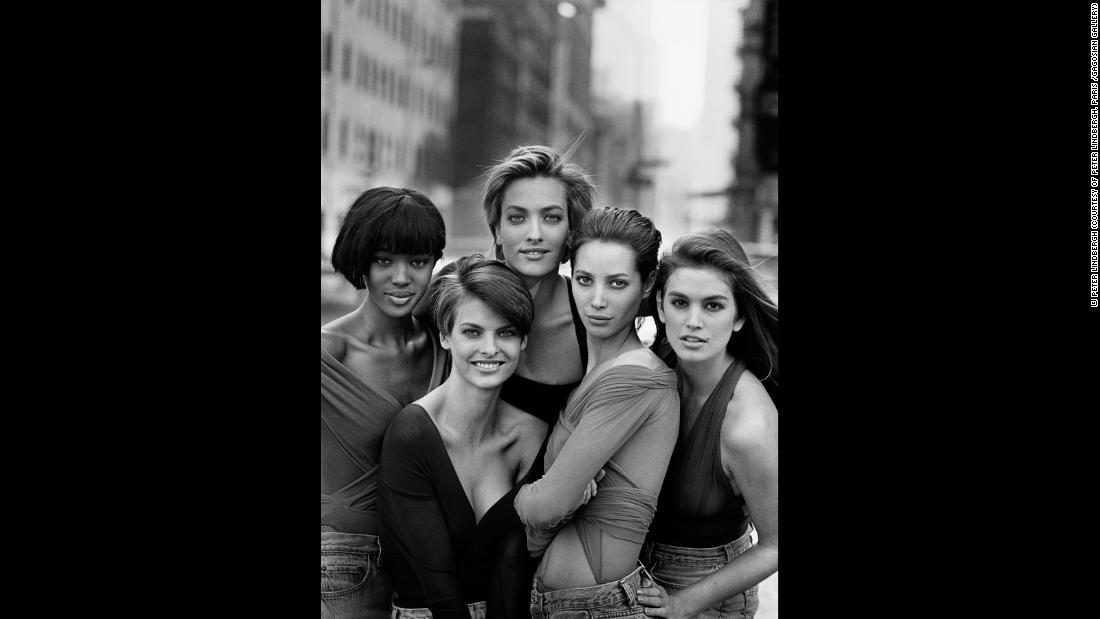 (L-R) Naomi Campbell, Linda Evangelista, Tatjana Patitz, Christy Turlington and Cindy Crawford, New York, 1990