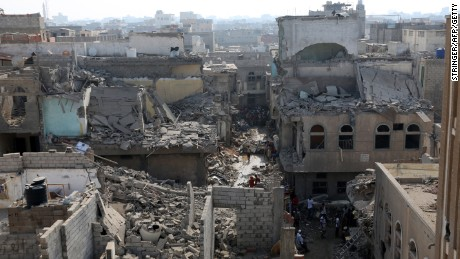 A view of the Alhook district in Hodeida a day after airstrikes killed 30 on September 21.