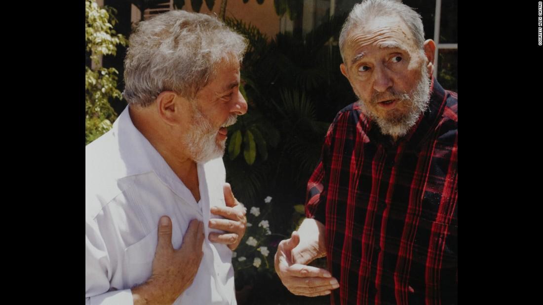 "Fidel Castro meets with ex-Brazilian President Luiz Inacio Lula da Silva. According to Alex Castro, Lula da Silva is the only politician who talks as much as his father. ""They both are talking the whole time,"" he said."