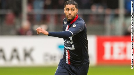 Anouar Kali of Willem II was sent off on the intervention of the video referee in a KNVB Cup match at Ajax.